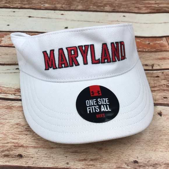 5a6896866ea6e Maryland Terrapins Terps White Golf Sun Visor Hat